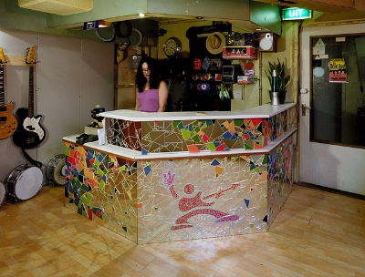 mosaic reception desk
